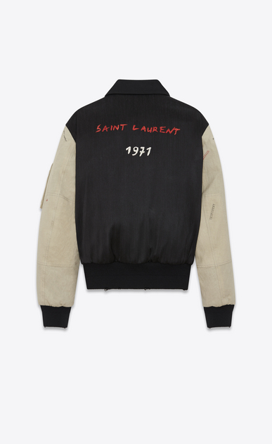 SAINT LAURENT カジュアルジャケット メンズ 刺繍入りボンバージャケット(黒のミリタリーコットン製、オフホワイトの袖) b_V4