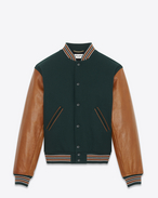 SAINT LAURENT Casual Jackets U Varsity jacket in green wool with sleeves in cognac leather f