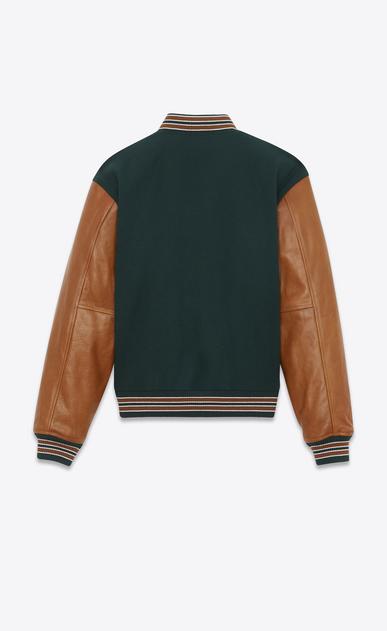 SAINT LAURENT Casual Jacken Herren Collegejacke aus grüner Wolle mit cognacbraunen Lederärmeln  b_V4