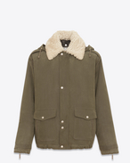 SAINT LAURENT Casual Jackets U Oversize military parka in khaki brushed gabardine and ivory shearling f