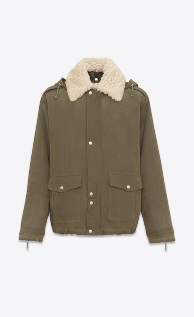 SAINT LAURENT Casual Jackets U Oversize military parka in khaki brushed gabardine and ivory shearling a_V4