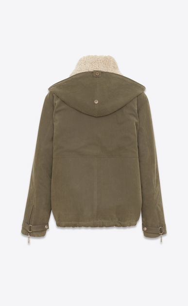 SAINT LAURENT Casual Jackets U Oversize military parka in khaki brushed gabardine and ivory shearling b_V4