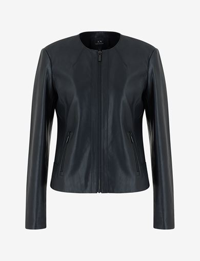 COLLARLESS FAUX-LEATHER MOTO