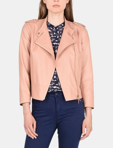 FAUX LEATHER FLAT-FRONT MOTO JACKET