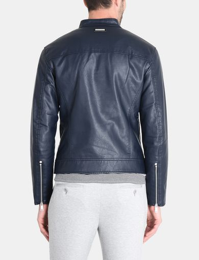 CLEAN FRONT FAUX LEATHER MOTO JACKET