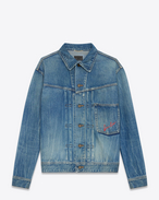 SAINT LAURENT Casual Jackets D Oversized jacket Loulou embroidered in faded blue denim f