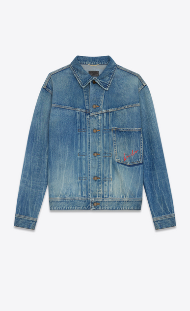 SAINT LAURENT Casual Jackets D Oversized jacket Loulou embroidered in faded blue denim a_V4