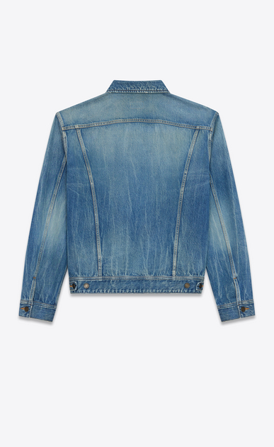 SAINT LAURENT Casual Jackets D Oversized jacket Loulou embroidered in faded blue denim b_V4