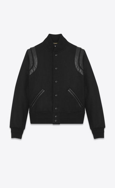 SAINT LAURENT Casual Jackets Woman Varsity jacket in black wool a_V4