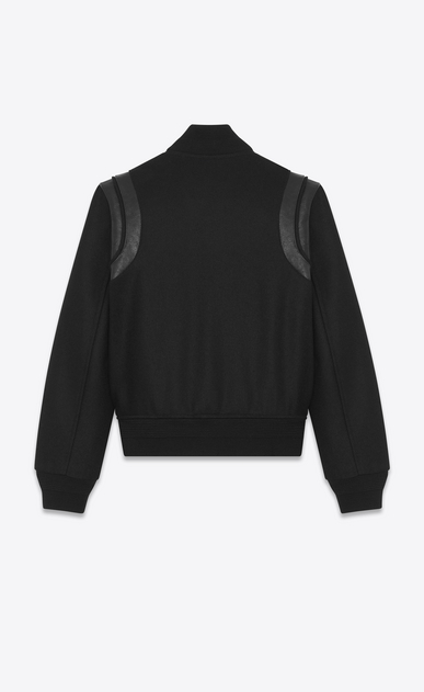 SAINT LAURENT Casual Jackets Woman Varsity jacket in black wool b_V4