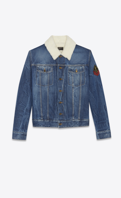 SAINT LAURENT Casual Jackets Man Jean Jacket in Washed Deep Dark Blue Denim and Black Shearling  a_V4