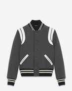 SAINT LAURENT Casual Jackets D Varsity jacket in gray leather f