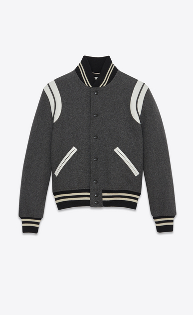 SAINT LAURENT Casual Jackets D Varsity jacket in gray leather a_V4