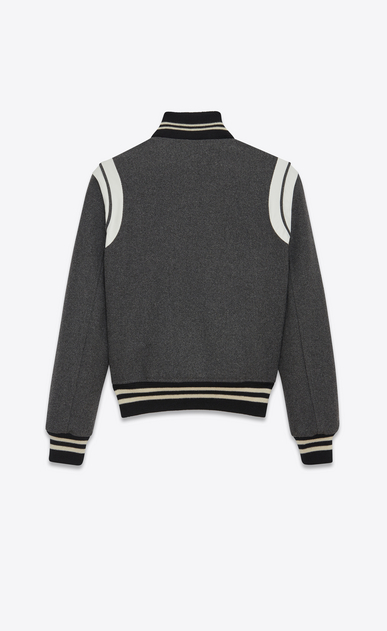 SAINT LAURENT Casual Jackets D Varsity jacket in gray leather b_V4