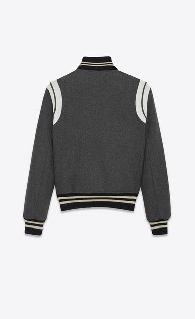 SAINT LAURENT Casual Jacken Damen Varsity-Jacke aus grauem Leder b_V4