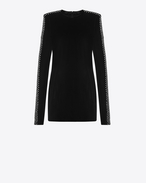 SAINT LAURENT Kleider D Straight-cut mini dress with square shoulders in black velvet f