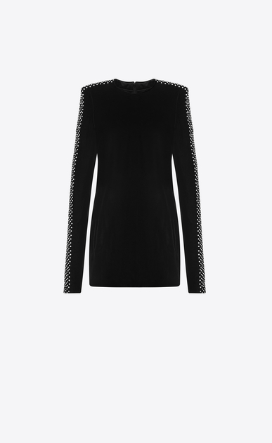 SAINT LAURENT Dresses D Straight-cut mini dress with square shoulders in black velvet a_V4