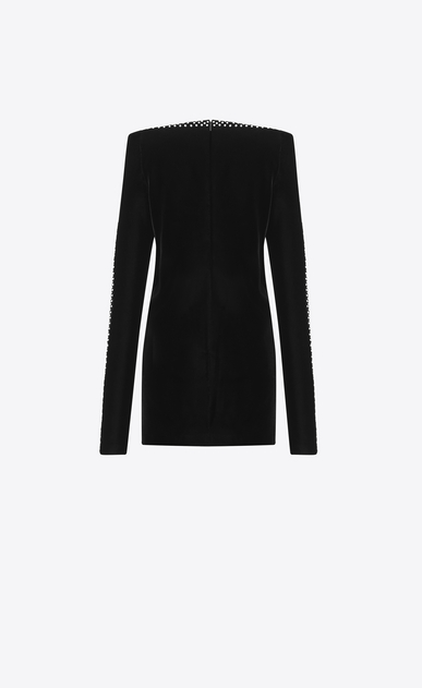 SAINT LAURENT Dresses D Straight-cut mini dress with square shoulders in black velvet b_V4