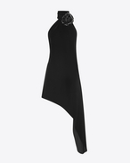 SAINT LAURENT LONG DRESSES D Asymmetrical mini dress with scarf in black velvet and black leather flower f