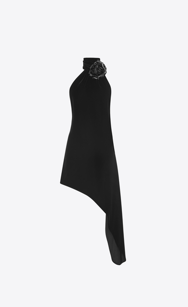 SAINT LAURENT Dresses Woman Asymmetrical mini dress with scarf in black velvet and black leather flower a_V4