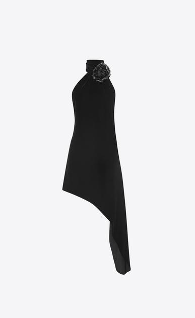SAINT LAURENT Dresses D Asymmetrical mini dress with scarf in black velvet and black leather flower v4