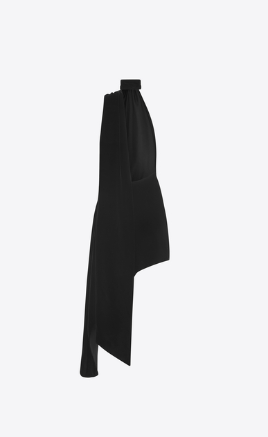 SAINT LAURENT Dresses Woman Asymmetrical mini dress with scarf in black velvet and black leather flower b_V4