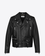 SAINT LAURENT Giacca di Pelle D Giacca Motorcycle nera lucida in pelle vintage f