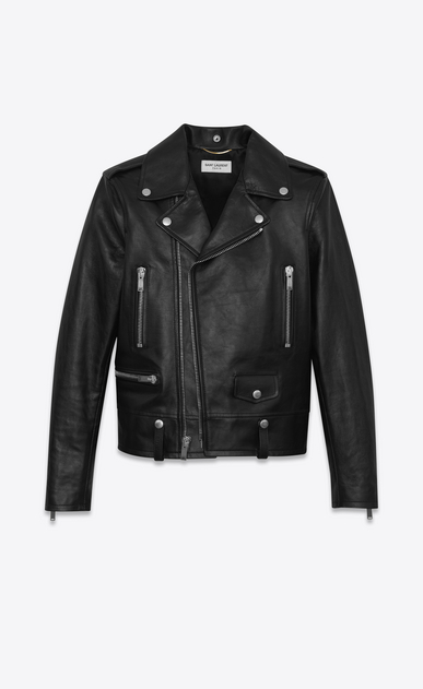 SAINT LAURENT Leather jacket Woman Motorcycle jacket in shiny black vintage leather a_V4