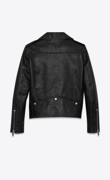SAINT LAURENT Leather jacket Woman Motorcycle jacket in shiny black vintage leather b_V4