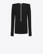 SAINT LAURENT Kleider D Straight-cut mini dress with crystal edge plunging neckline in black sablé f