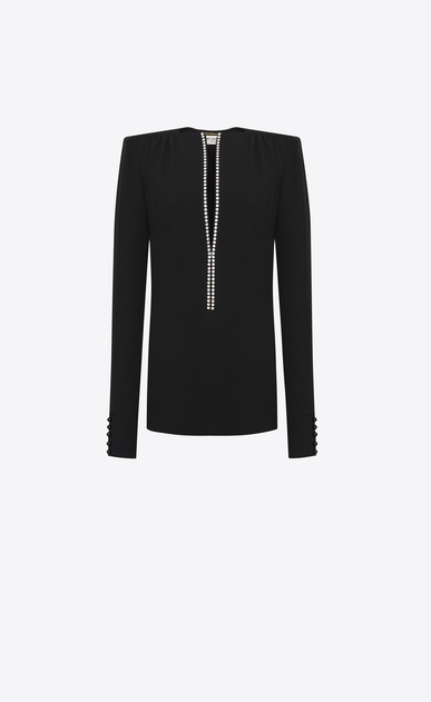 SAINT LAURENT Dresses D Straight-cut mini dress with crystal edge plunging neckline in black sablé b_V4