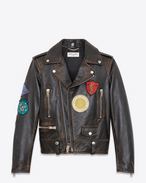 SAINT LAURENT Leather jacket D Motorcycle jacket with multicolored patches in black and cognac antiqued leather f