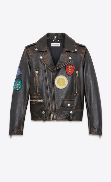 SAINT LAURENT Leather jacket Woman Motorcycle jacket with multicolored patches in black and cognac antiqued leather a_V4