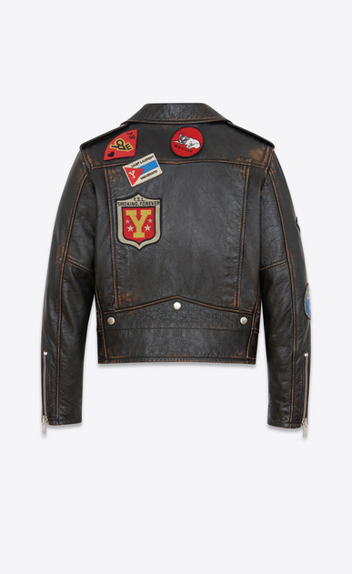SAINT LAURENT Leather jacket Woman Motorcycle jacket with multicolored patches in black and cognac antiqued leather b_V4