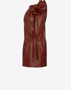 SAINT LAURENT Dresses D Mini dress with flower in shiny camel-color leather f
