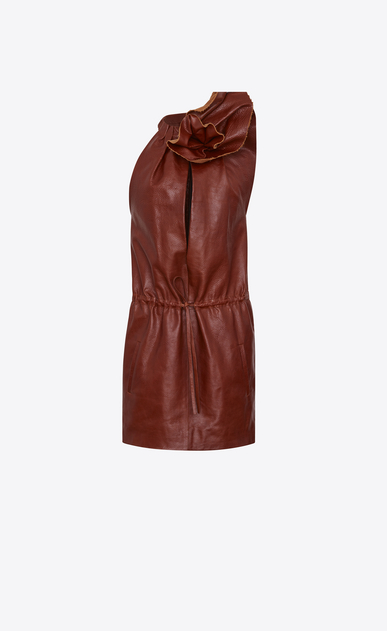 SAINT LAURENT Dresses D Mini dress with flower in shiny camel-color leather a_V4