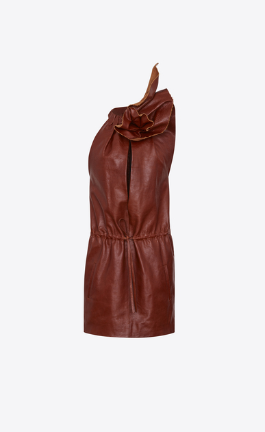 SAINT LAURENT Dresses D Mini dress with flower in shiny camel-color leather b_V4