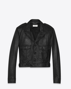 SAINT LAURENT Leather jacket D Black leather aviator jacket f