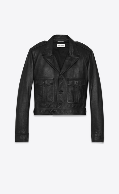 SAINT LAURENT Leather jacket Woman Black leather aviator jacket a_V4