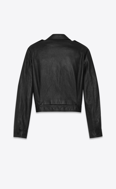 SAINT LAURENT Leather jacket Woman Black leather aviator jacket b_V4