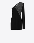 SAINT LAURENT Kleider D Straight-cut asymmetrical mini dress in black velvet f