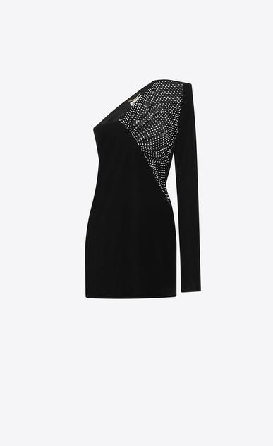SAINT LAURENT Kleider D Gerade geschnittenes, asymmetrisches Minikleid aus schwarzem Samt a_V4