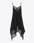 SAINT LAURENT Dresses D Mini slip dress in lace and black organic crepe de chine f