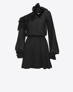 SAINT LAURENT Dresses D Asymmetrical mini dress with ruffles and a flower brooch in black silk muslin  f