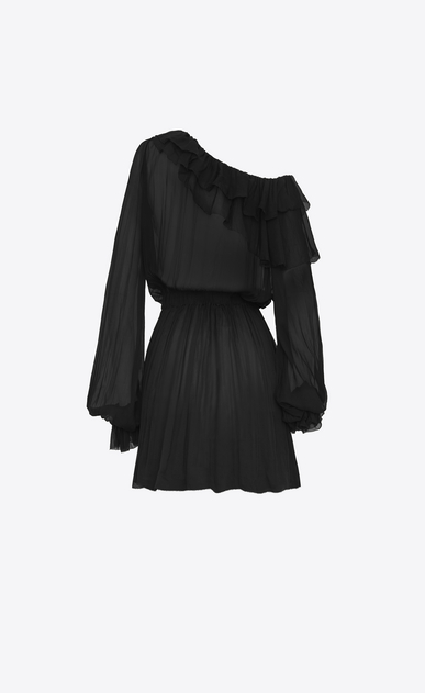 SAINT LAURENT Dresses D Asymmetrical mini dress with ruffles and a flower brooch in black silk muslin  b_V4