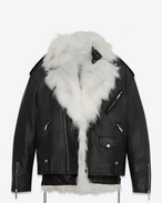 SAINT LAURENT Leather jacket D Oversized motorcycle jacket in black leather with removable white fox lining f