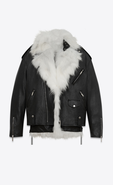 SAINT LAURENT Leather jacket Woman Oversized motorcycle jacket in black leather with removable white fox lining a_V4