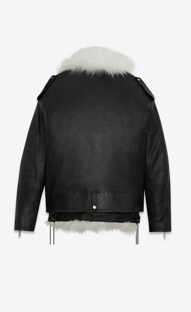 SAINT LAURENT Leather jacket Woman Oversized motorcycle jacket in black leather with removable white fox lining b_V4