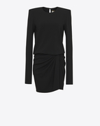 SAINT LAURENT Kleider D Long-sleeved mini dress and gathered skirt in black sablé f
