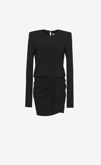 SAINT LAURENT Dresses Woman Long-sleeved mini dress and gathered skirt in black sablé a_V4